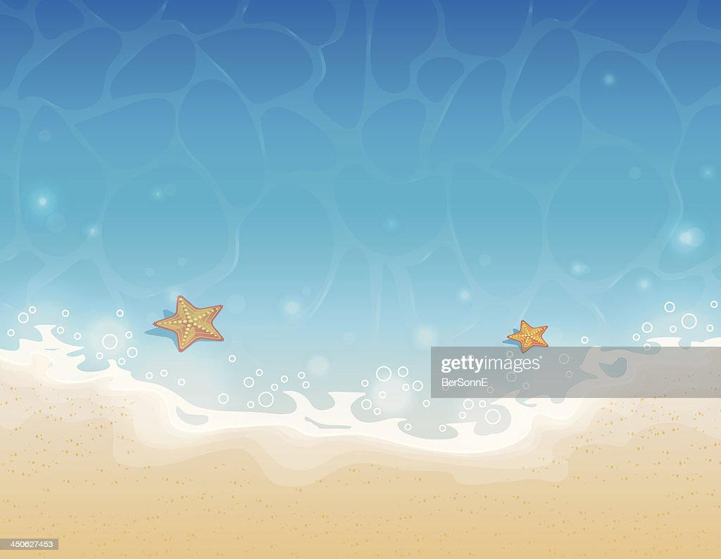 Illustration of starfish in the shallow sea at the beach