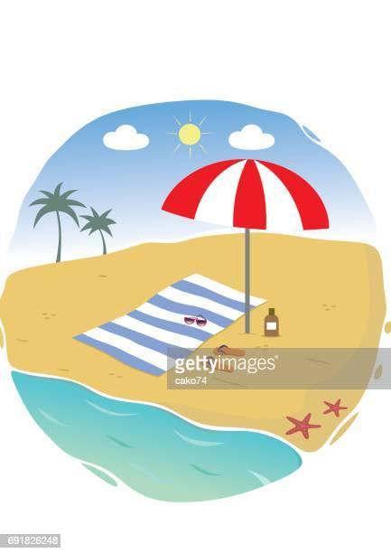 illustration of summer beach