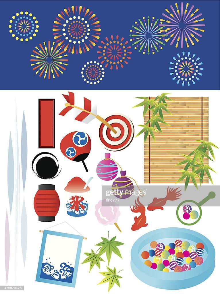 Illustration of summer festival in Japan