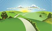 Illustration of sun rising behind rolling hills