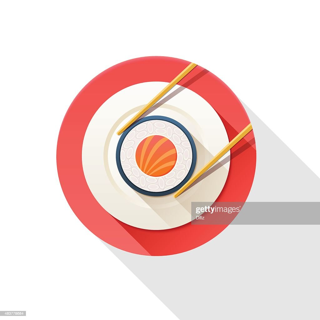 Illustration of sushi and chopsticks isolated on a white background.