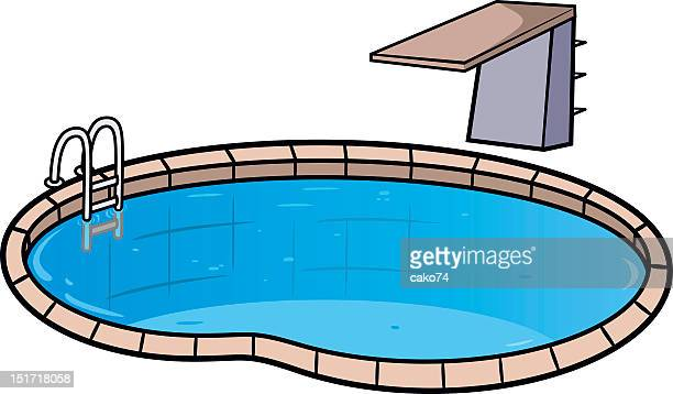 Illustration of swimming pool and diving board