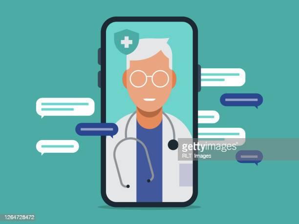 illustration of telemedicine doctor visit medical exam on smart phone - senior citizen clipart stock illustrations