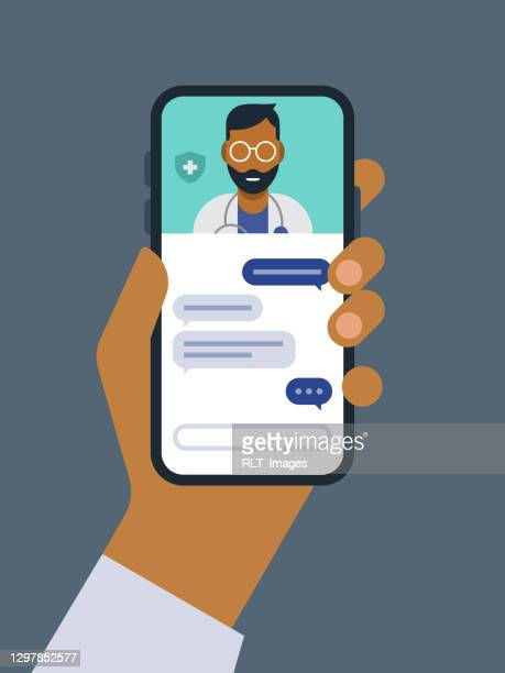 illustration of telemedicine doctor visit medical exam on smart phone - text messaging stock illustrations