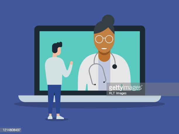 illustration of telemedicine doctor visit medical exam with giant laptop computer - using computer stock illustrations