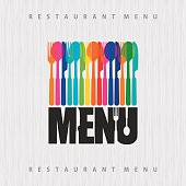illustration of template for menu or wine card with cutlery