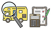 Illustration of the camper's assessment and estimated amount (camper and magnifying glass and checklist and calculator)