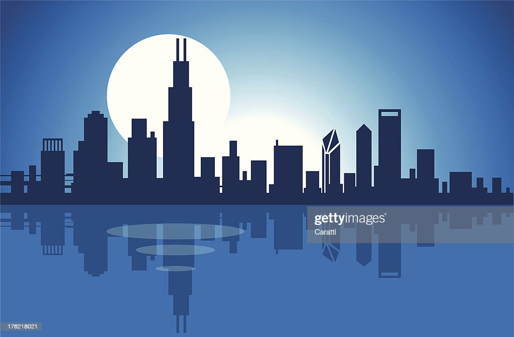 Illustration of the Chicago skyline at night over the lake