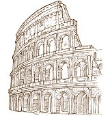Illustration of the colosseum in brown and white