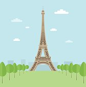 Illustration of the Eiffel Tower surrounded by trees