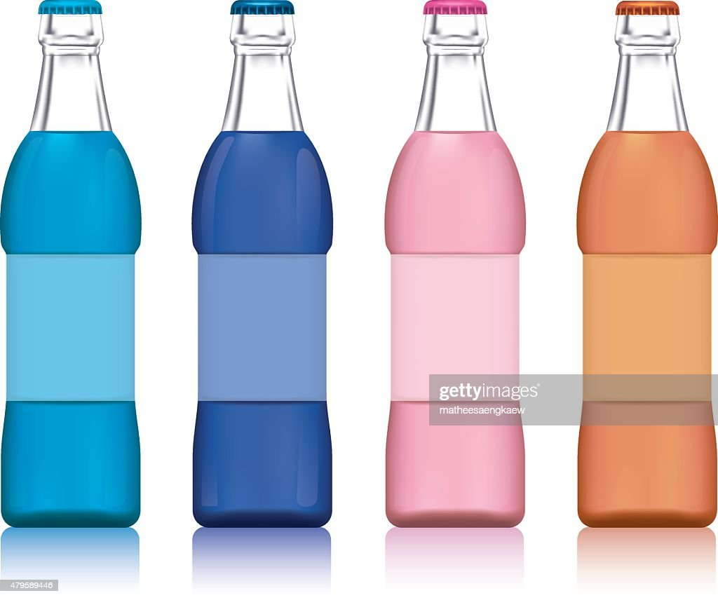 Illustration of the four water bottles on a white background