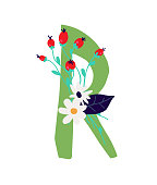 Illustration of the letter R in plants and flowers. Vector. Monogram for banner, greeting card. Composition of bouquets and plants, herbarium. Cartoon style. The image of summer and spring. Pattern for clothes.