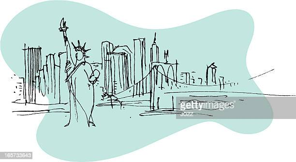 illustration of the statue of liberty in new york - brooklyn new york stock illustrations, clip art, cartoons, & icons