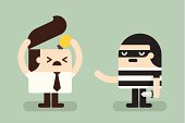 Illustration of thief stealing idea from businessman