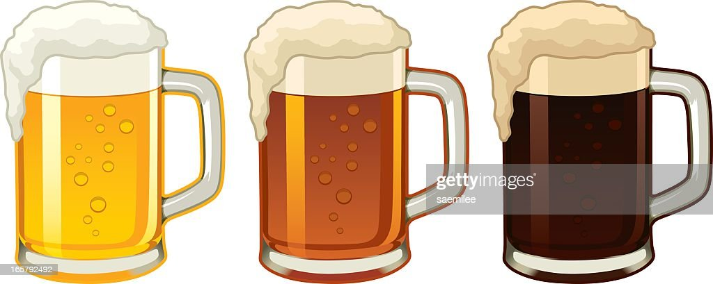 Illustration of three beer mugs containing different beers : stock illustration