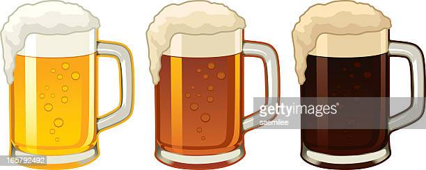 Illustration of three beer mugs containing different beers