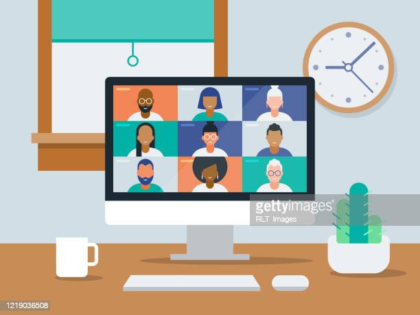 illustrazioni stock, clip art, cartoni animati e icone di tendenza di illustration of tidy work-from-home office with video conference on computer screen - videoconferenza