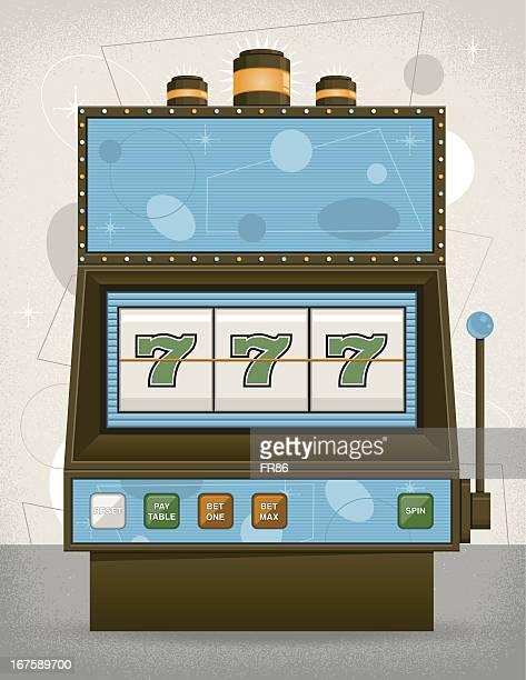 Illustration of triple 7's in a vintage slot machine