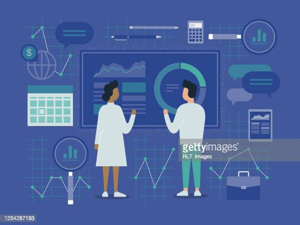 illustrazioni stock, clip art, cartoni animati e icone di tendenza di illustrazione di due colleghi di business che analizzano i dati finanziari - rapporto finanziario