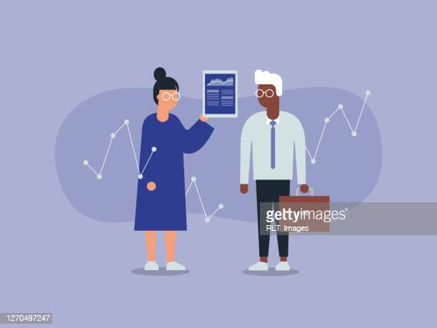 illustration of two business colleagues analyzing financial data - clip art stock illustrations