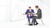 Illustration Of Two Businessmen In Meeting Using Laptop