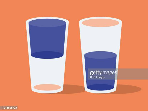 illustration of two drinking glasses, glass half full or glass half empty - sensory perception stock illustrations