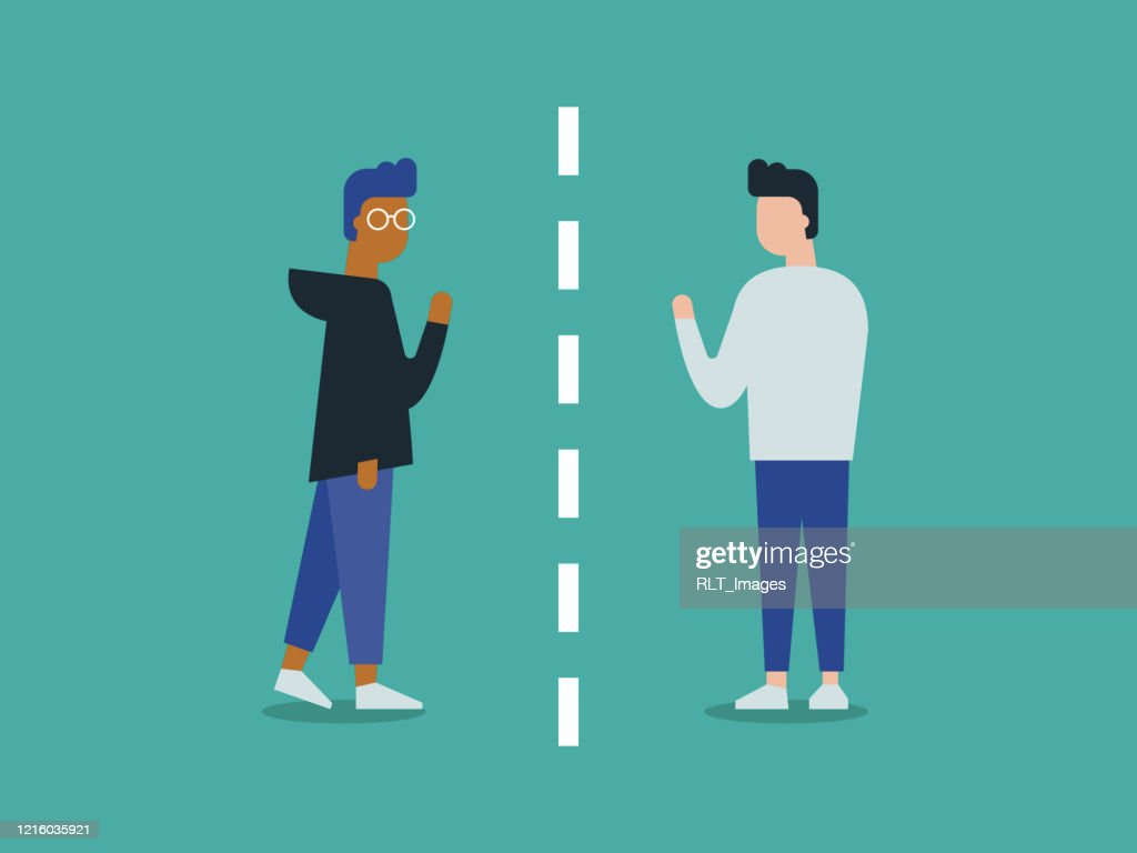 Illustration of two friends separated by social distancing : stock illustration
