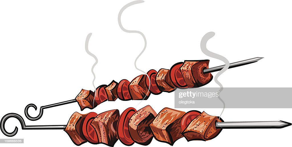 Illustration of two grilled meat kebabs isolated on white