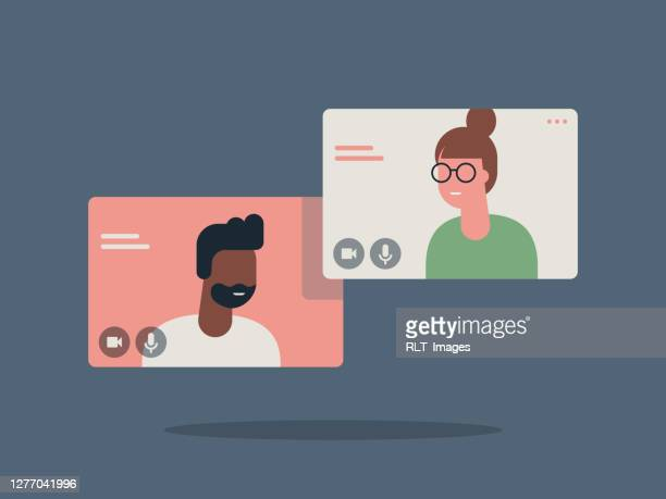 illustration of two happy people talking via video call - adult stock illustrations