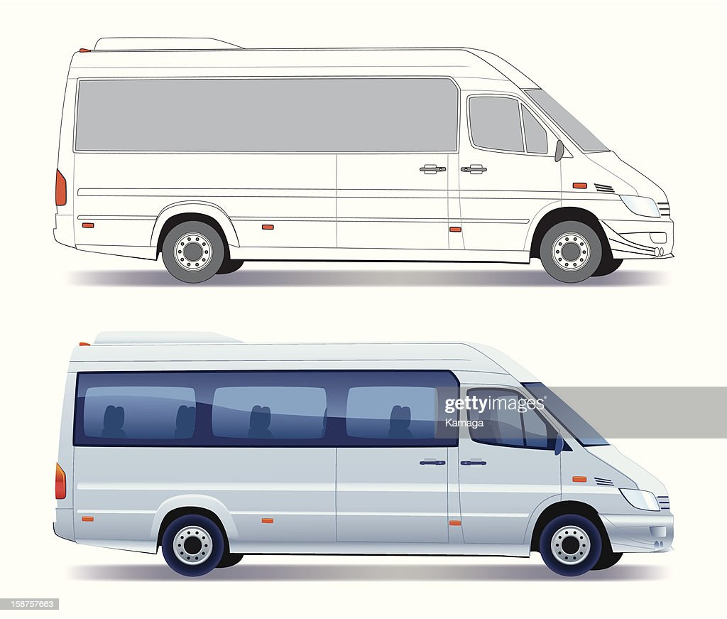 A illustration of two minibuses