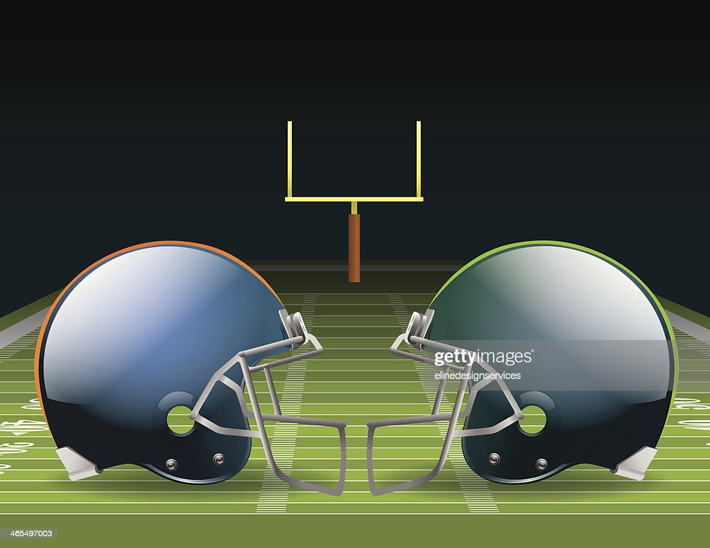 Illustration of two opposing helmets on a football field