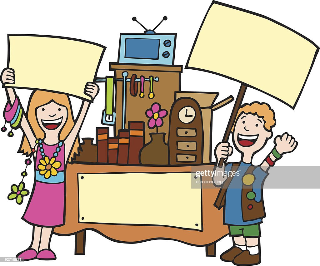 Illustration of two people holding blank signs selling stuff