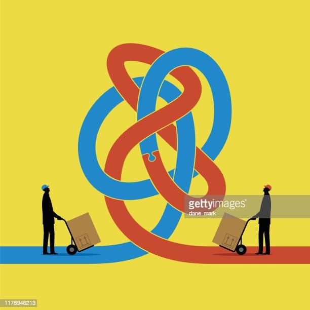 ilustrações, clipart, desenhos animados e ícones de ilustração de dois povos que tentam negociar um com o otras mas encontram um nó na estrada - obstruir
