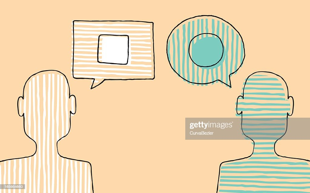 Illustration of two people with different opinions : stock vector