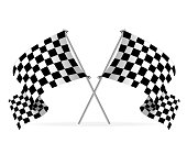 Illustration of two racing flags crossed over white