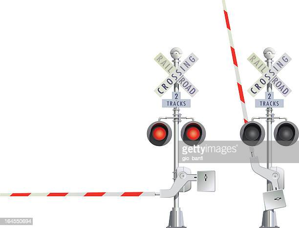 illustration of two railroad crossing signs in red and white - closing stock illustrations, clip art, cartoons, & icons