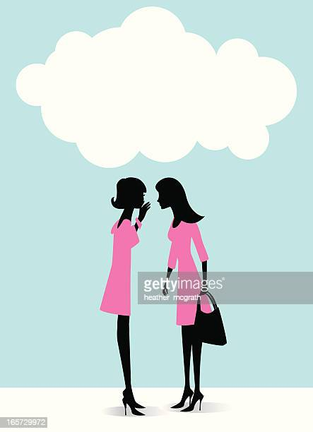 Illustration of two women in pink dresses gossiping