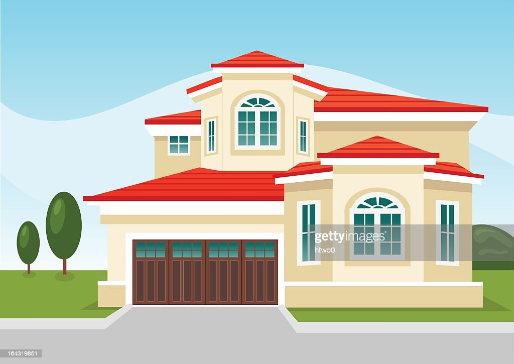 Illustration of two-story suburban home with attached garage