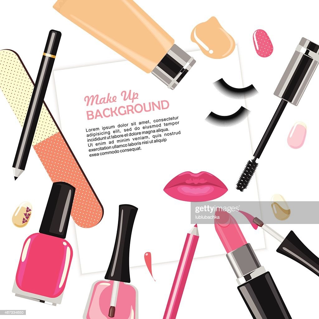 Illustration of various make up cosmetics
