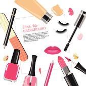 Illustration of various make up cosmetics