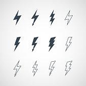 Illustration of vector lightning icon set