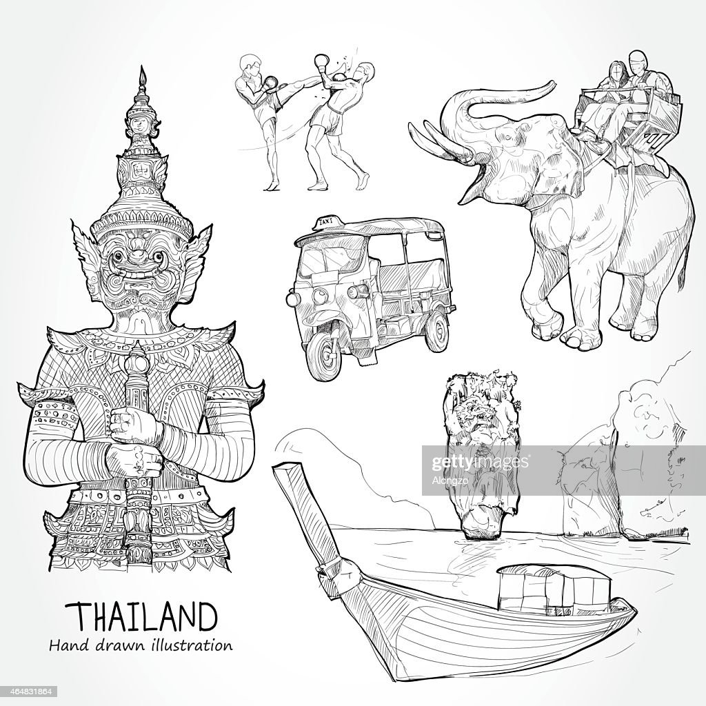 Illustration of vector set of Thailand. Travel Thailand Concept.