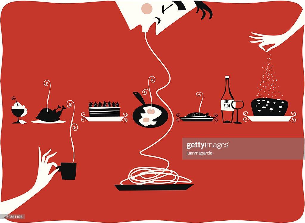 Illustration von vintage-Küche, Speisen, restaurant, cattering, Gebäck, gourmet - : Stock-Illustration