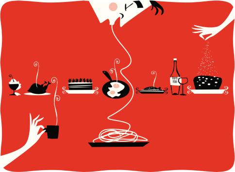 Illustration of vintage kitchen items, restaurant, cattering, pastries, gourmet - gettyimageskorea