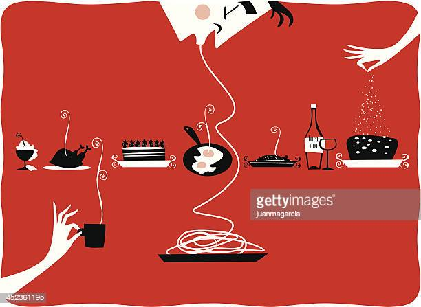 illustration of vintage kitchen items, restaurant, cattering, pastries, gourmet - illustration technique stock illustrations