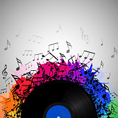 Illustration of vinyl record with music notes, rainbow watercolor splashes and with space for text. Vector element for presentations, covers and your creativity