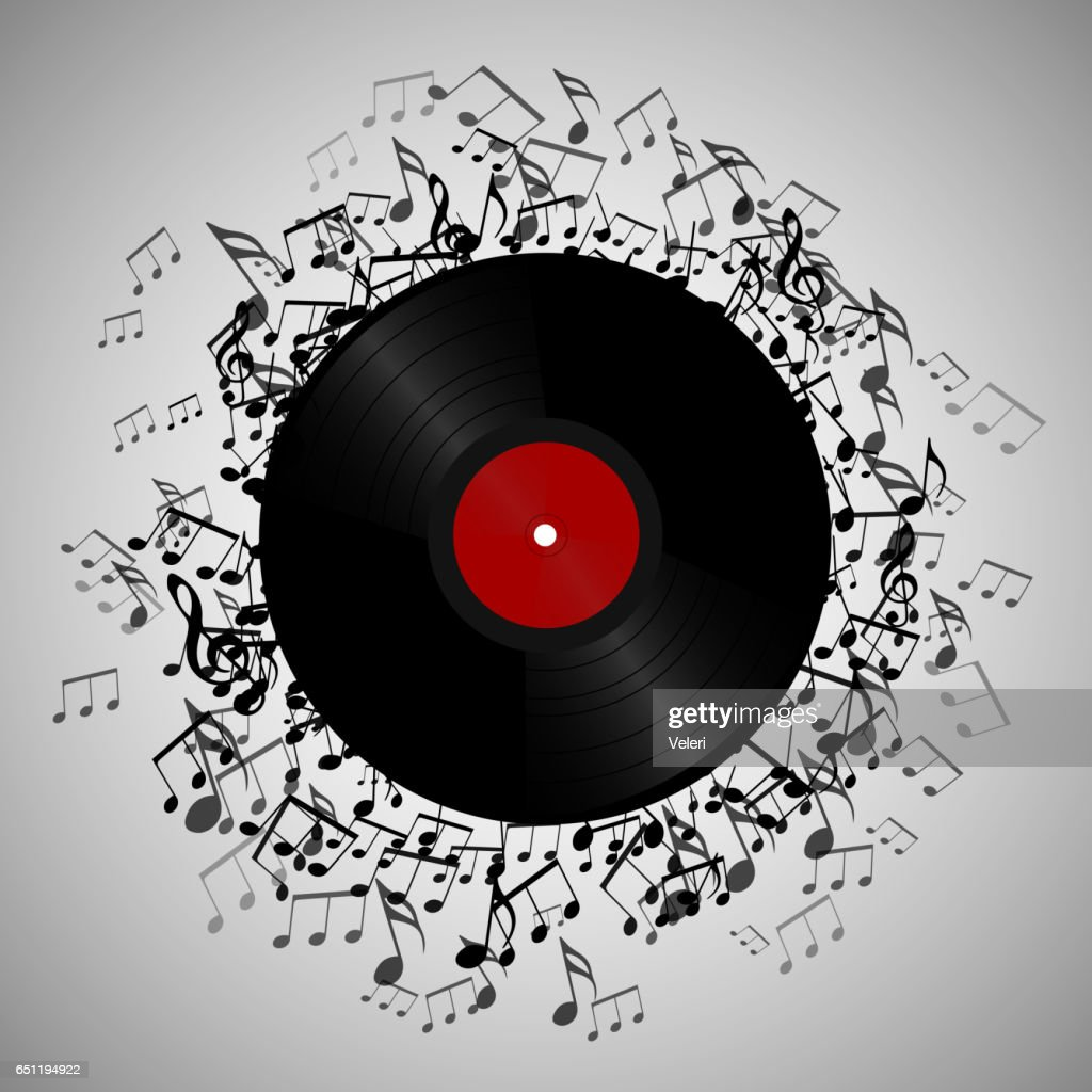 Illustration of vinyl record with music notes.