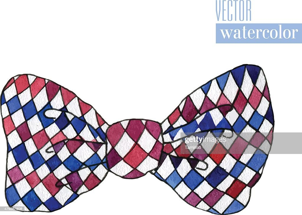 Illustration of watercolor bow with rhombus pattern