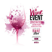Illustration of wine glass with scattered wine stains. Text composition for invitations creativity and wine event announcement.