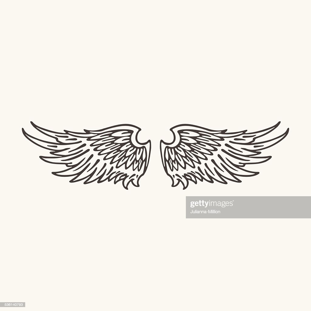 illustration of wings. Black and white style